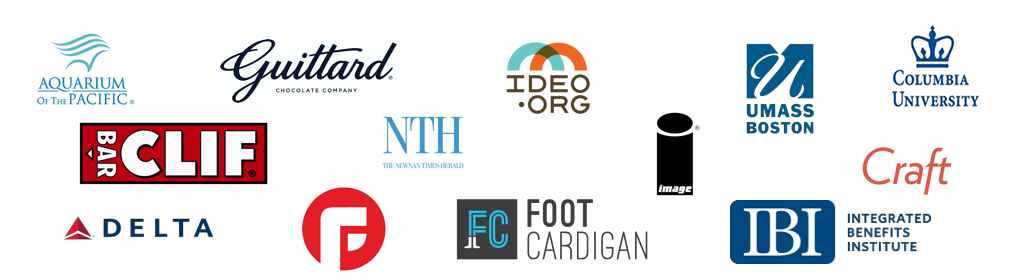 Some of our many wonderful clients - The Aquarium of the Pacific, Guittard Chocolate, Ideo.org, UMass Boston, Columbia University, Craft CMS, Clif Bar, Delta Airlines, Focus Lab, Nerd HQ, Foot Cardigan, and thousands more... Join them today!