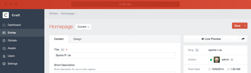 Craft CMS Screenshot